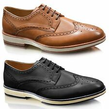New Mens Brogues Smart Wedding Formal Office Casual Lace Up Oxford Shoes Size