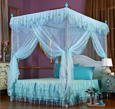Princess Flower 4 Corner Post Bed Canopy Mosquito Netting Twin Queen King Size