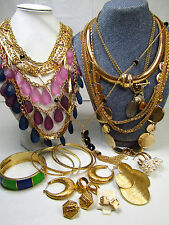 Gold Tone Costume Jewelry Lot Layer Beads Chains Earrings AS IS