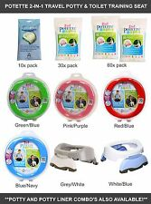Potette Plus Baby Foldable Travel Potty/Toilet Trainer Seat + Liners *5 colours