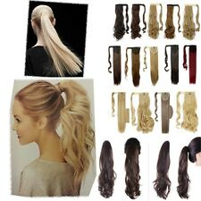 Lady Clip In Ponytail Pony Tail Hair Extension Claw On Hair Piece curly wavy UK