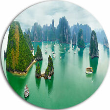Design Art 'Tourist Junks at Ha Long Bay Vietnam' Photographic Print on Metal