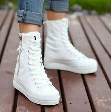 Womens side zip Canvas platform High top sneakers shoes Heels High Top shoes New