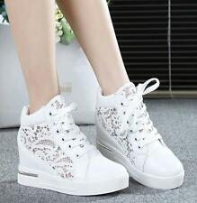 Womens PU Leathe Hollow Platform Wedge Shoes Lace Up High Top Sneakers Loafers