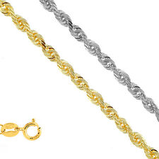 "14k Solid Yellow Or White Gold 1.25mm Diamond-Cut Rope Chain 16"" 18"" 20"" 24"""