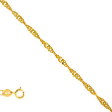 14k Solid Yellow or White Gold .8mm Singapore Chain Bracelet Necklace