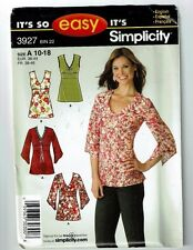 Simplicity #3927 Misses Top with Sleeve Variations Pattern Sz 10-18 Uc
