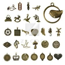 2-100pcs Lots Antique Brass Loose Metal Charm Pendant Jewelry Findings 35 style