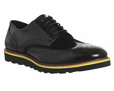 Mens Ask the Missus Coco Wedge Sole Brogues BLACK LEATHER SUEDE Casual Shoes