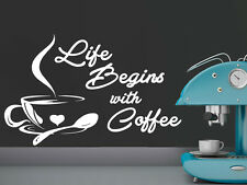 Wall Vinyl Sticker Decal Quote Coffee Cup Kitchen Cafe Shop Window Decor NS494