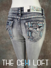 Womens GRACE IN LA Bootcut Jeans Thick Western Style Embroidered Flap Pockets!