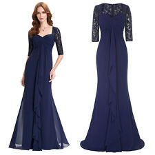 Long Lace Mother of the Bride Formal Cocktail Evening Party Wedding Prom Dress *