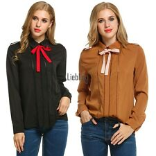 Women Casual Turn Down Collar Long Sleeve Hollow Solid Button Down Shirt LEBB