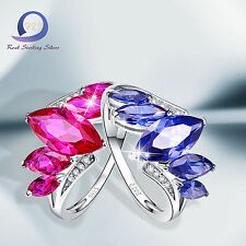 Merthus 925 Sterling Silver Ring 3.77CT Ruby Tanzanite Engagement Party Rings