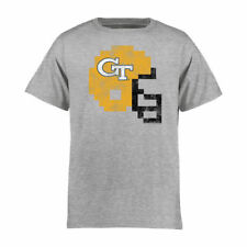 Georgia Tech Yellow Jackets Youth 8-Bit Football Helmet T-Shirt - Ash - NCAA