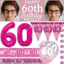 Pink Age 60 Female Happy 60th Birthday Banner Confetti Balloons Decorations