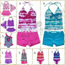 Girls Tankini Swimwear Bikini Swim Kids Swimsuit Swimming Costume Set Age 2-16T