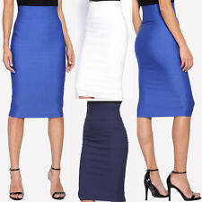 TheMogan Wear to Work High Waisted Stretch Woven MIDI PENCIL SKIRT Day to Night
