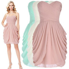 Sexy Strapless Sweetheart Women Pleated Chiffon Short Prom Dresses Evening Gown