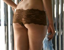 Brazilian Style Lace Booty Lycra Spandex Shorts Boyshort Tanga Blue Brown Red