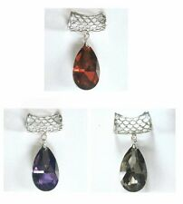 Scarf Pendant Fashion Jewelry Crystal Tear Drop Red Purple Black Color Choices