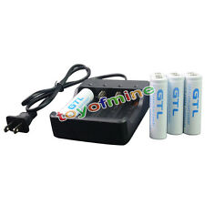 8 x 18650 10000mAh 3.7V GTL White li-ion Rechargeable Battery + 17650 Charger