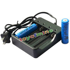 2 PCS 18650 3.7V UF 3800mAh Li-on Rechargeable Battery for LED Torch + Charger
