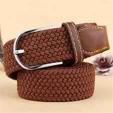 2017 New Mens Brown Leather Elastic Braided Belt Stretch Pin Buckle Golf Belt