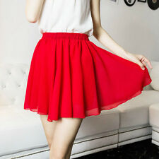 Lady Chiffon Short Skirt High Elastic Waist A Linen Pleated Lining Safety Skirts
