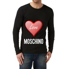 Black Men Modern New T-shirt Tee Long Sleeves Blouse Love Moschino