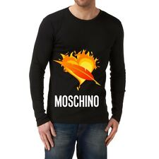 Black Men Modern New T-shirt Tee Long Sleeves Blouse Fire Heart Love Moschino