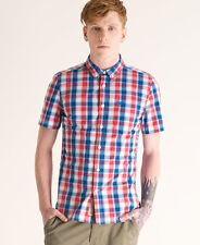 New Mens Superdry New York Button Down Short Sleeved Shirt Redhook Check VH2
