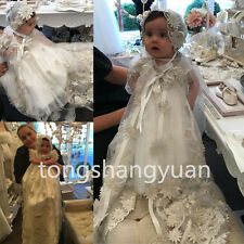 Handmade Flowers Infant Christening Gowns Short Sleeve Baby Robe Baptism Dresses
