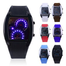Mens Sports RPM Turbo Blue Flash LED Sports Car Meter Dial Watch Wristwatch GF