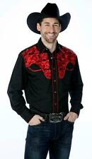 WESTERN COWBOY Men Black Tooled Long Sleeve Red Embroidery DRESS CASUAL SHIRT