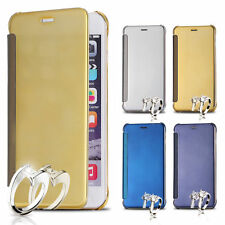 Mirror Clear View Flip Cover Case Slim Leather Hard PC Back For Apple iPhone