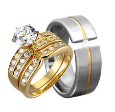 His & Her Wedding Ring Sets Gold Plated Sterling Silver Titanium CZ  Men & Women
