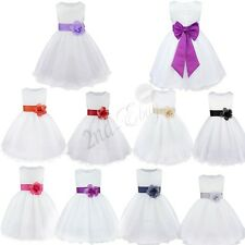 Sash Petals Flower Girl Wedding Formal Bridesmaid Party Pageant Princess Dress