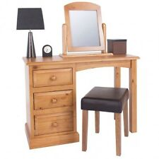 Quality Dressing Table With 3 Drawers + Mirror Solid Pine Edwardian Collection