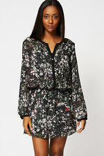 Abstract Print Pleated Front Chiffon Dress