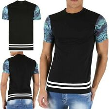 Mens Designer Crew Neck Tie Die Short Sleeves White Sporty Stripes T Shirt Top