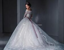 Ball Gown Princess Lace Wedding Dresses Off Shoulder Long Sleeves Chapel Train