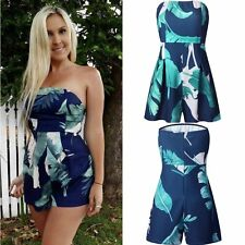 Womens Strapless Floral Evening Party Cocktail Bodycon Short Jumpsuit Rompers