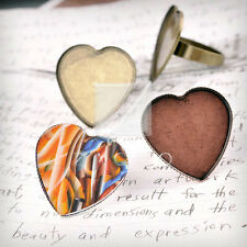 Ring Mountings Engagement Settings Heart/Round Antique Copper/Brass/Silver BW