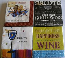 "WINE COCKTAIL NAPKINS  10"" X 10""   3 Ply  ASSORTED TITLES"