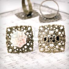 5/10pcs Square/Flower/Flat Round Ring Mountings Jewelry Settings Antique Brass