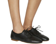 Womens Office Francine Lace Up Brogues BLACK LEATHER Flats