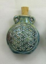 Raku Ceramic Pottery Bottle-Necklace, Flower of Life, Choice of Lot Size & Price