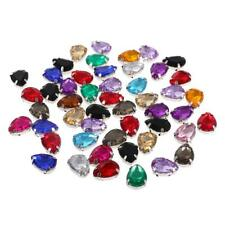 50pcs 10*14mm Sew-on Faceted Resin Buttons Embellishment Beads Applique