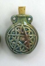 "Raku Ceramic Pottery Bottle/Necklace, 2"" Pentagram, Choice of Lot Size & Price"